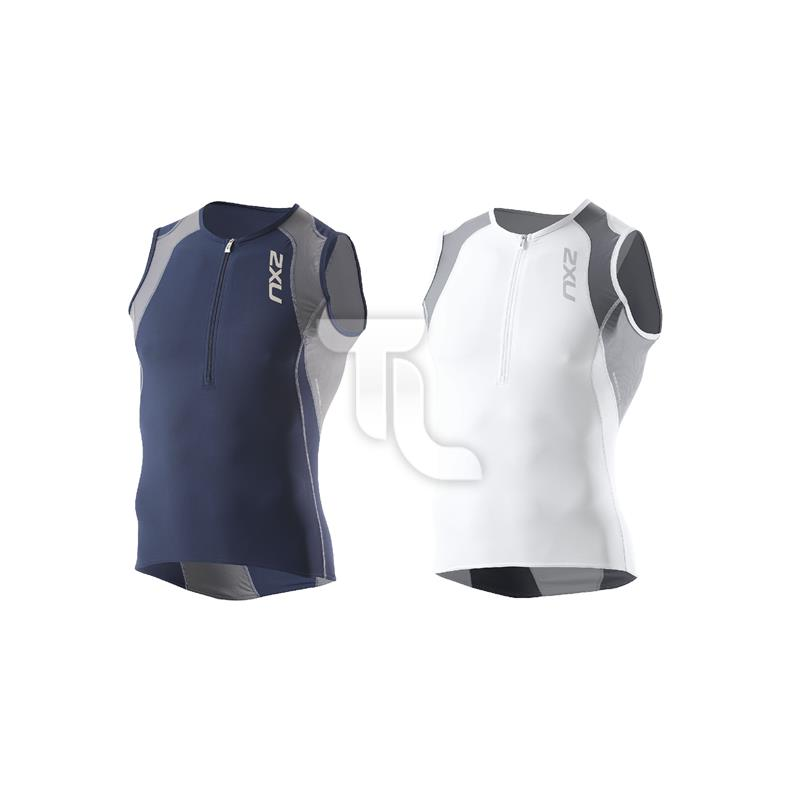 Pic_A:2xu Mens Long Distance Tri Singlet Top MT2123a