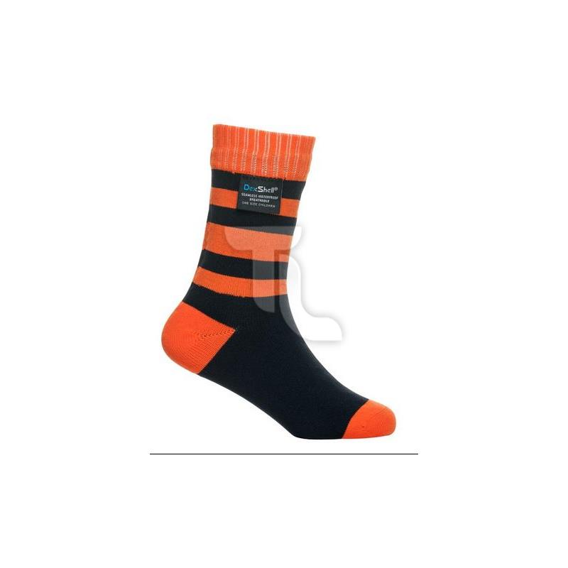 Pic_A:Dexshell Waterproof Stripe Socks Kinder DS546TR Tangelo Red Stripe