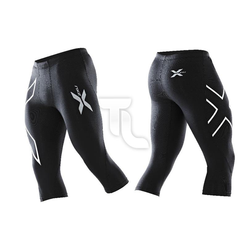 Pic_A:2xu 3/4  Compression Tight Herren schwarz Logo silber MA1942b