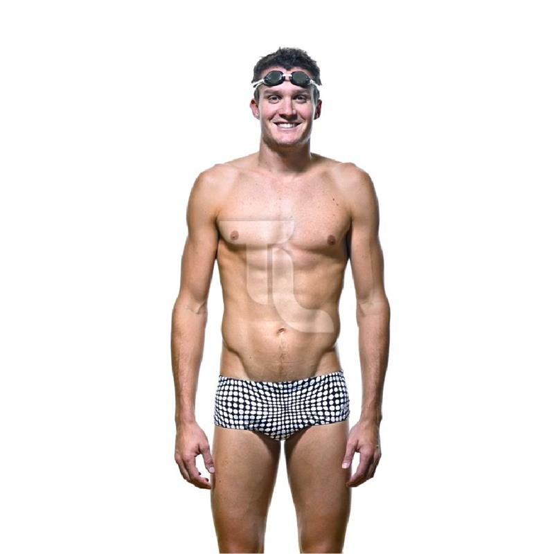 Pic_A:Zoggs Leeman Racer Badehose black white Edition